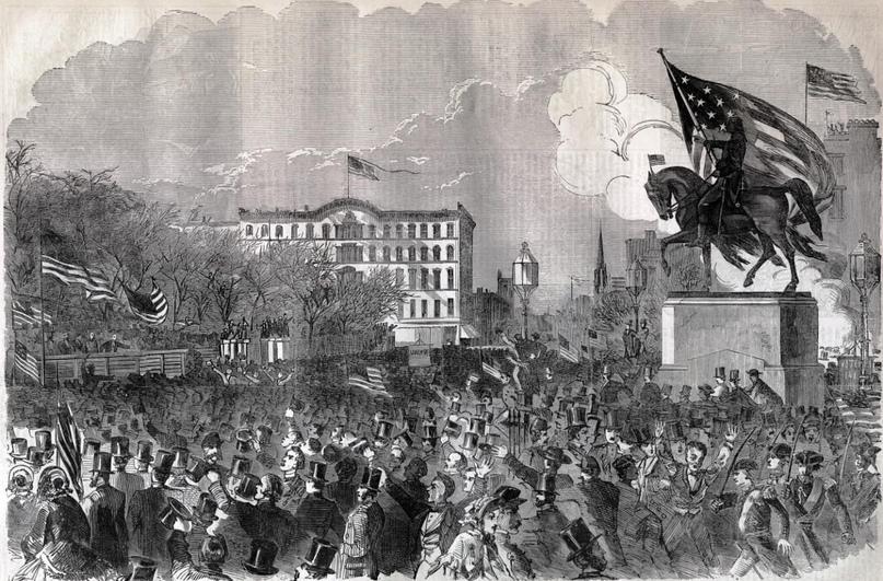 Митинг 20 апреля 1861 в поддержку декларации Линкольна о наборе добровольцев.