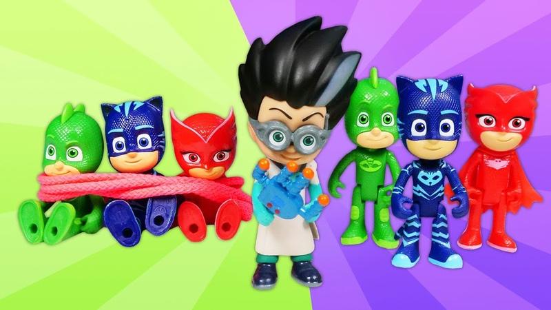 Las aventuras de PJ Masks y Romeo Juguetes de los héroes en pijama Vídeos para niños