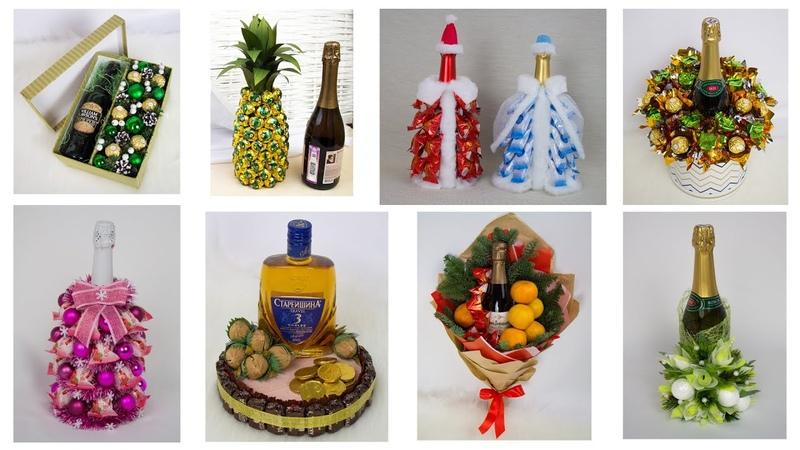 9 идей Новогоднее оформление бутылки спиртных напитков Поделки и подарки своими руками