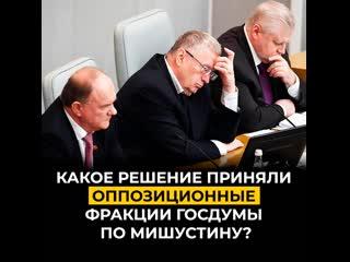 Какое решение приняли оппозиционные фракции Госдумы по Мишустину