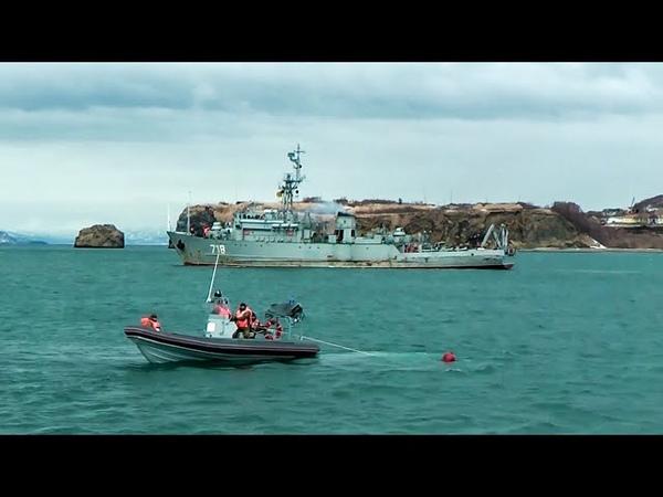 Минно тральные корабли ТОФ провели учение по обезвреживанию вытраленных донных мин на Камчатке