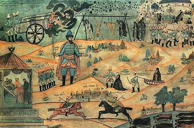 «Воевода Мещеринов подавляет Соловецкое восстание». Лубок XIX века