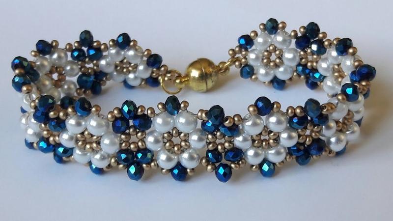 Papatya desenli Kristal ve inci boncuklu bileklik yapımı bracelet