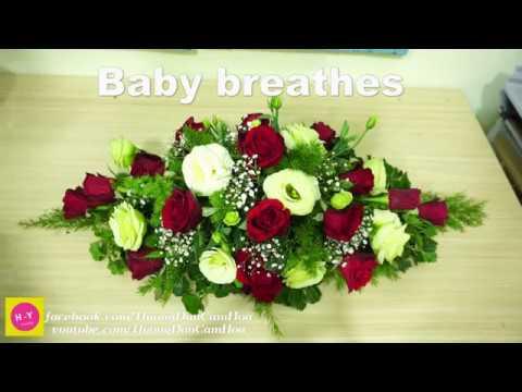Cách cắm hoa để bàn đẹp Cát tường xanh mix Baby trắng Cắm hoa shop 61
