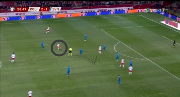Шиманский с мячом делает пас на Левандовского, тот пяткой делает пас на свободное пространство.