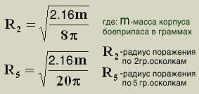 Расчет поражающих возможностей осколочных мин и гранат, изображение №7