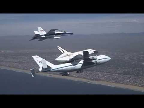 Shuttle Endeavour Flyover of Los Angeles Landmarks