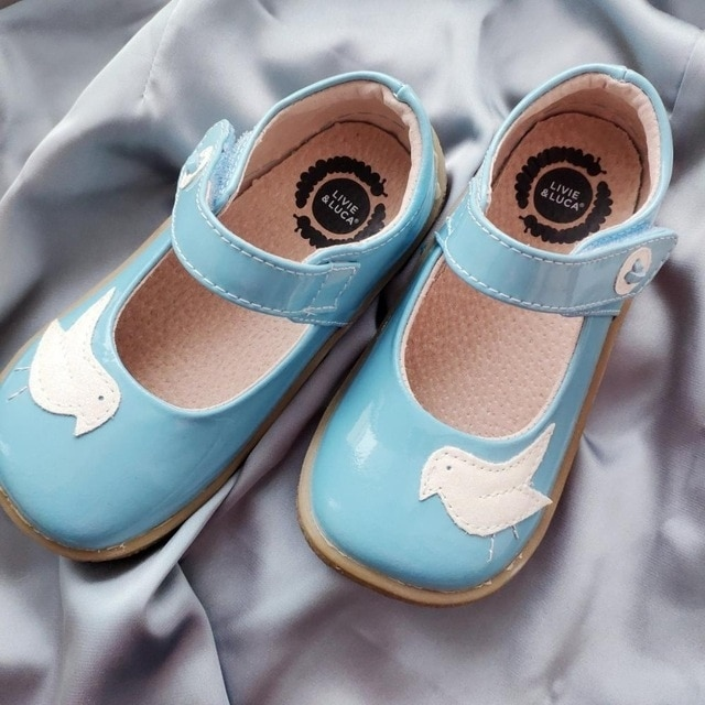 Голубые туфельки с птичкой