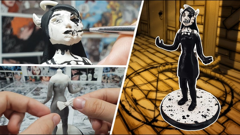 How to make INK ALICE from the game BATIM ⚫⚪⚫ Polymer Clay Tutorial ⚫⚪⚫