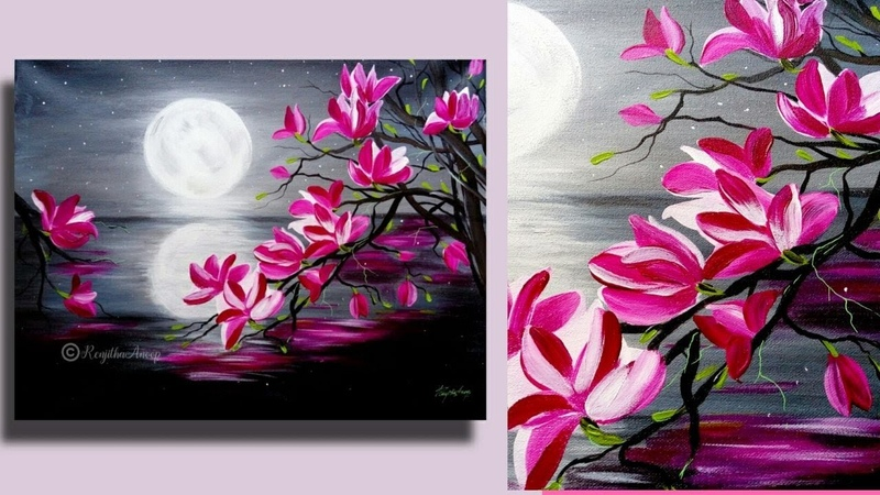 Step by Step acrylic painting on canvas for beginners moon light night Painting Tree of Magnolia