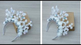 DIY: Ободок снежинка своими руками