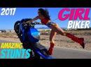 Beautiful GIRL Biker BIKE STUNTS 2017 Wheelie Drift Harley Sportster Kawasaki Ninja STUNT RIDING