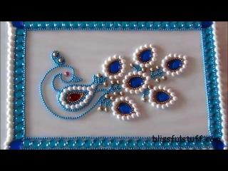 DIY-Beautiful Kundan Peacock Rangoli,Peacock rangoli motif,How to make peacock rangoli