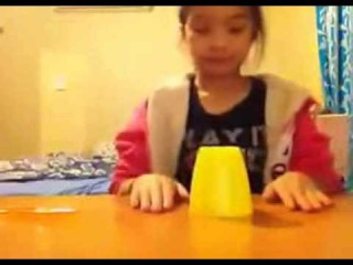 Adorable Asian girl does hard rock version of the cup song