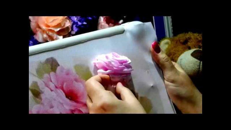 МК Роза из лент/Embroidery ribbons