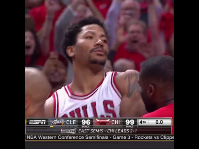 "NBA on Instagram Derrick Rose for the @chicagobulls win TacoBellBuzzerBeaters NBAPlayoffs"""