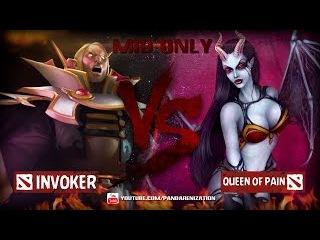 Invoker VS Queen of Pain [Битва героев Mid only] Dota 2