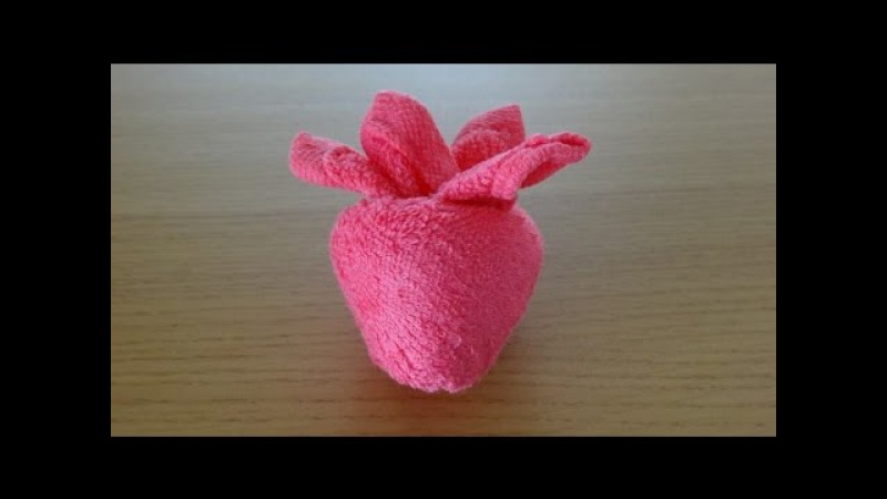 How to Make a Towel Strawberry おしぼりイチゴのつくり方 Como Hacer una fresa de toalla