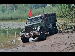 RC AXIAL SCX10 6x6 Kraz-255 logging truck water fun