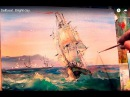 Oil painting Seascape Sailboat Bright day