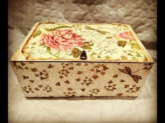 Cómo reciclar y decorar caja de frutas vintage decoupage y craquelado
