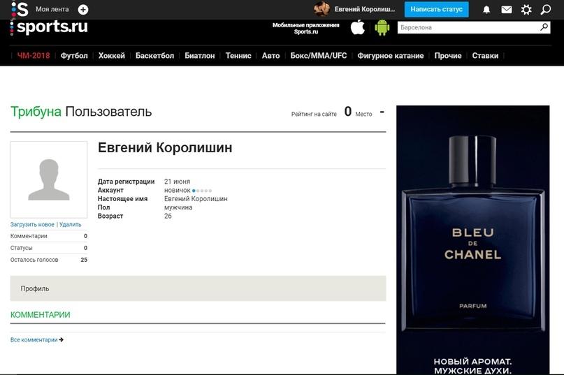 Пример личной странички в спортивной сети sports.ru