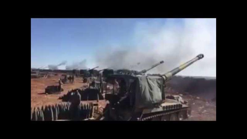 Suriye'de konuşlu M110A2 203mm obüslerinin atışları