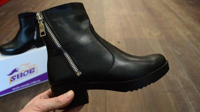 Женские кожаные зимние  ботинки Luxart на меху ( овчина )