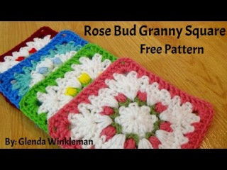 How To Crochet - Rose Bud Granny Square - Free Instructions!