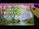 Oil Landscape Painting Tutorial Barn in Misty Autumn Forest with River using Palette Knife