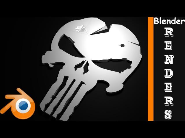 Punisher Logo Low Polly Render Timelapse Blender Kidus Ehsetu