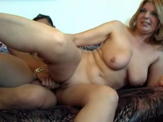 Slim hungry mommy opens up for the shaft of her naked son