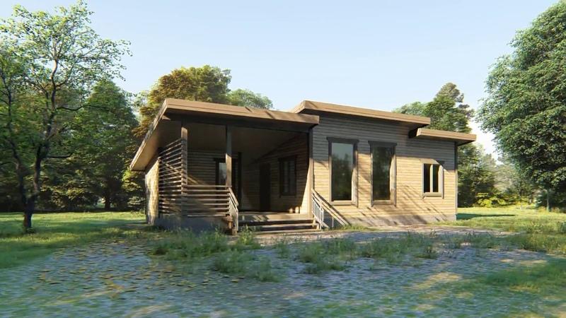 Одноэтажный каркасный дом 7х13. Проект КД-21. Внешний вид