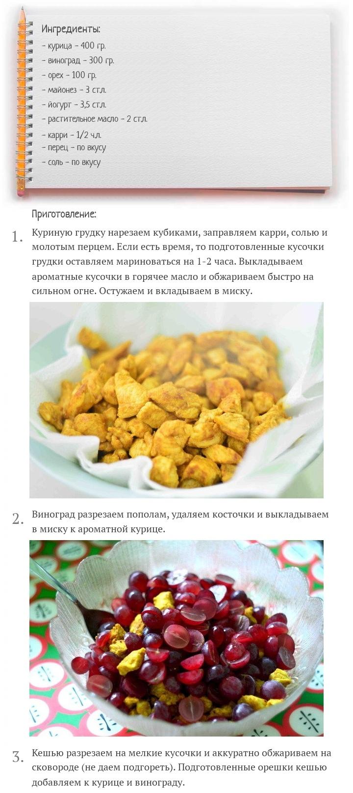 Куриный салат с виноградом и орехами кешью, изображение №2