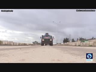 Russian Military Police patrol Manbij area, Syria, near Turkish border