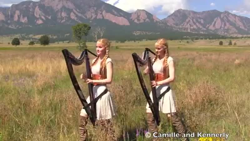 LORD OF THE RINGS Medley - Harp Twins - Camille and Kennerly
