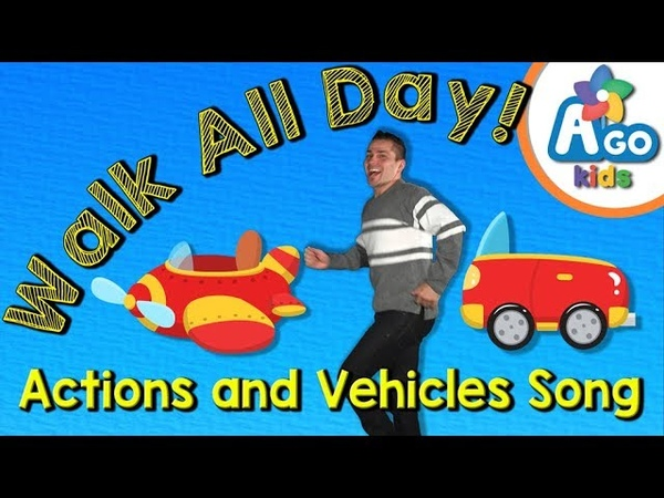 Walk All Day Action Verbs and Vehicles Song BINGOBONGO Learning