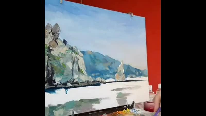 Сегодня покажу вам как шла работа над холстом со скалой Парус. Дети тоже хотели попасть в кадр и с удовольствием ездили на са