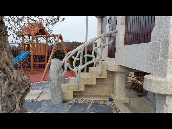 Barandillas hechas de cemento imitación madera ( Faux Bois)