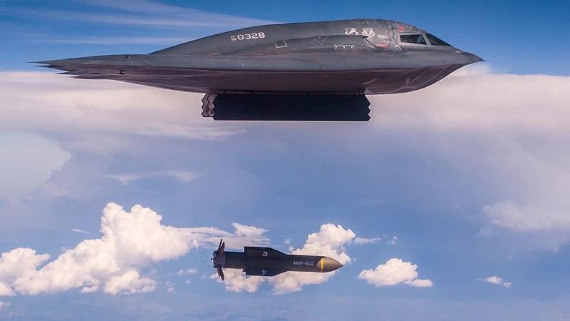 B-2 Spirit Bomber Drops Massive Ordnance Penetrator Bomb