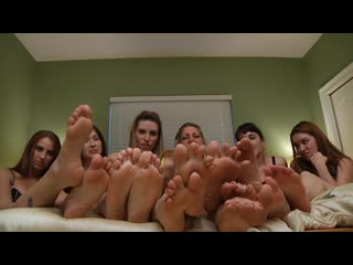 Five girls humiliate you with their feet [hd porn, foot fetish, orgy, teen]