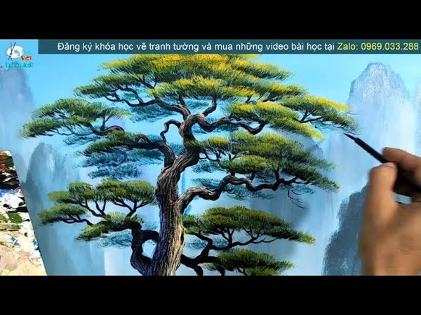 Tranh sơn thủy, cây tùng lá kim, video trong khóa học dạy vẽ tranh tường.