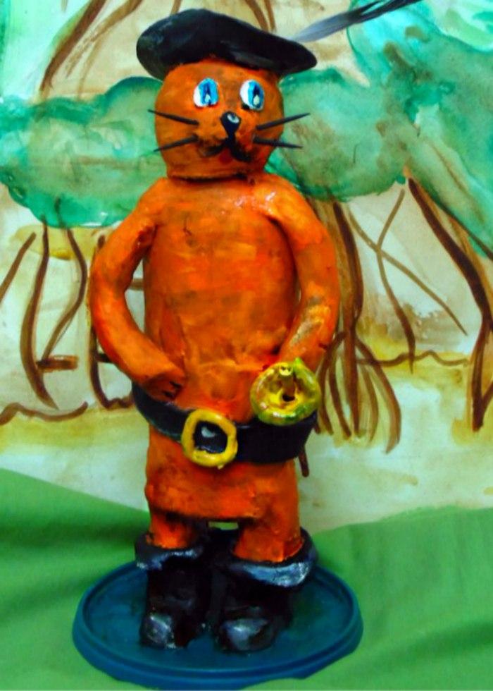 Картинки кот в сапогах из пластилина