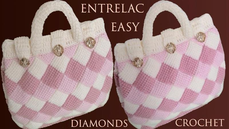 Bolso a Crochet muy Fácil en punto Entrelac Redondo Tunecino diamantes tejido tallermanualperu