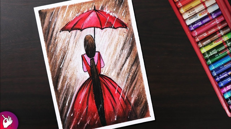 Rainy season scenery drawing for beginners with oil pastels - Girl in Rain