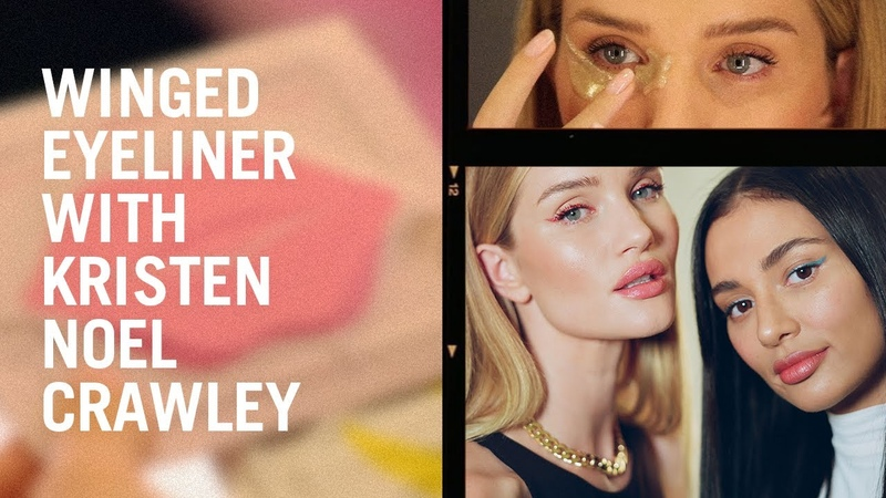 Winged eyeliner with Kristen Noel Crawley and Rosie Huntington Whiteley