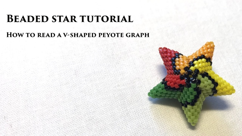 Beaded Star Tutorial / How to read a v-shaped peyote graph / 3D Peyote Star Beading Tutorial