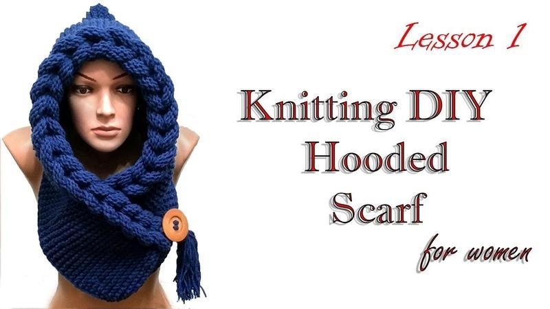 Knitting Шарф капюшон косичками МК 1 /HUDED SCARF