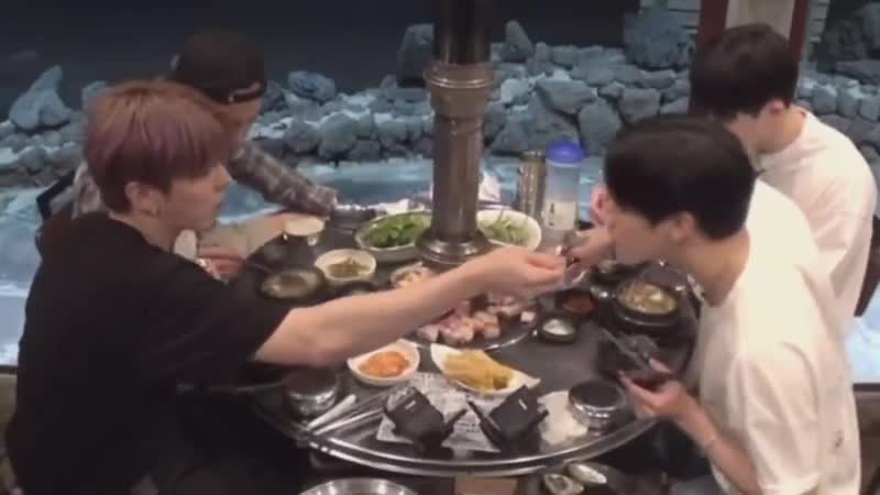 Kihyun really blowing the soup and feeding changkyun im soft im soft im soft im soft -.mp4