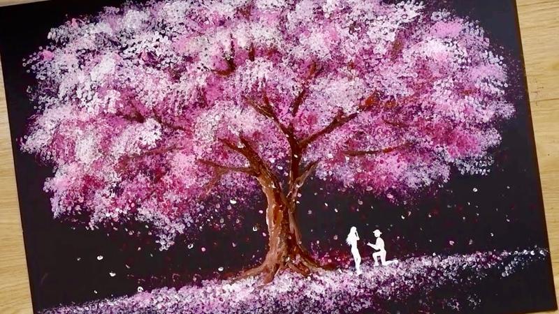 Bath Sponge Q tips painting technique How to draw Romantic Couple beside tree